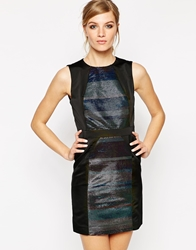 American Retro Janis Metallic Striped Dress Black