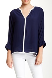 Zoa Piped 3 4 Length Sleeve Blouse Blue