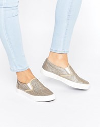 New Look Glitter Slip On Trainer Gold
