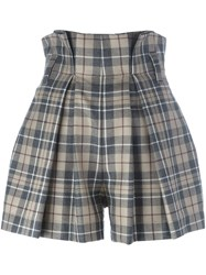 Vivienne Westwood Anglomania High Waist Tartan Shorts Nude And Neutrals