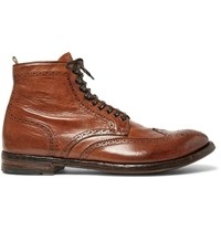 Officine Creative Anatomia Brogue Detailed Burnished Leather Boots Brown