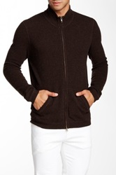 Autumn Cashmere Cashmere Full Zip Thermal Stand Up Collar Sweater Brown