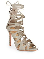 Schutz Nadia Reptile Embossed Lace Up Pumps Cement