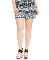 Junarose Plus Size Graphic Print Soft Shorts Blue Glow
