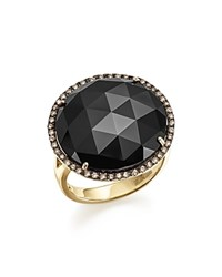 Bloomingdale's Onyx Statement Ring With White And Brown Diamonds In 14K Yellow Gold Black White