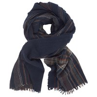 John Lewis And Co. Boiled Wool Check Scarf Navy