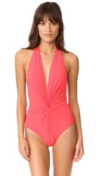 Karla Colletto Low Back Plunge Swimsuit Begonia