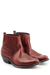 Golden Goose Brielle Leather Ankle Boots Red