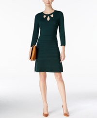 Nine West Cutout Fit And Flare Sweater Dress Green