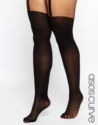 Asos Curve Rib Suspender Over The Knee Tights With Control Top Black