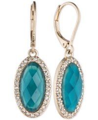Lonna And Lilly Large Oval Stone Pave Drop Earrings Blue Green