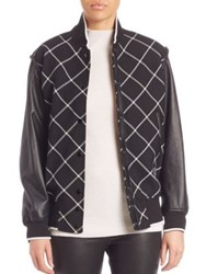 Rag And Bone Edith Leather Sleeve Varsity Jacket Black White