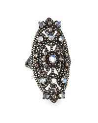 Bavna Rainbow Moonstone And Champagne Diamond Marquise Cocktail Ring Women's
