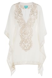 Taj Embroidered Silk Tunic White