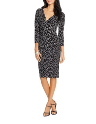 Lauren Ralph Lauren Petite Surplice Polka Dot Dress Black Cream