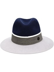 Maison Michel Two Tone Fedora Hat Grey