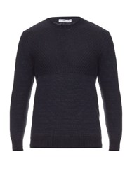 Inis Meain Floating Moss Linen Knit Sweater Navy