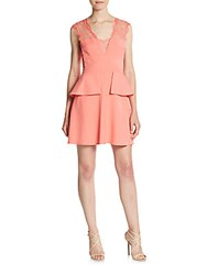 Bcbgmaxazria Lace Accented Peplum Dress Pink Coral