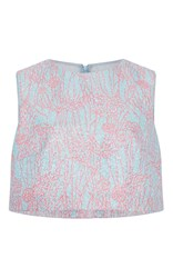 Monique Lhuillier Sleeveless Cropped Shell Pink
