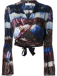 Scanlan Theodore Printed Wrap Front Blouse Blue