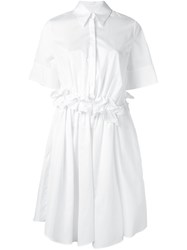 Victoria Beckham Ruffle Waist Shirt Dress White