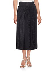 Alaia Metallic Origami Pleated Skirt Black Silver