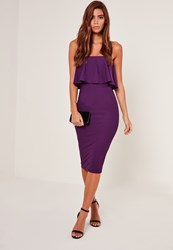 Missguided Bandeau Frill Detail Midi Dress Purple Plum