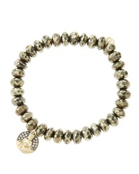 8Mm Faceted Champagne Pyrite Beaded Bracelet With 14K Gold Diamond Sitting Buddha Charm Made To Order Sydney Evan