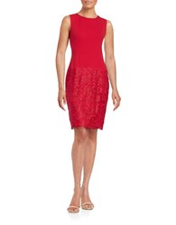 Calvin Klein Lace Hem Sheath Dress Red