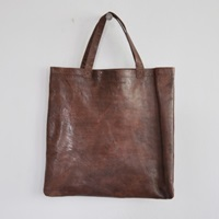 Flat Brown Leather Bag Vdc For La Liane