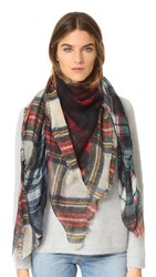 Franco Ferrari Evans Wash Plaid Scarf Blue Red Green