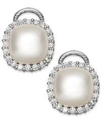Majorica Sterling Silver Organic Man Made Pearl And Cubic Zirconia Stud Earrings