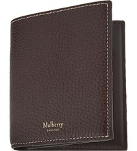 Mulberry Classic Grained Leather Trifold Card Holder Chocolate