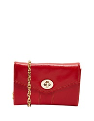 Tusk Medium Leather Crossbody Clutch Red