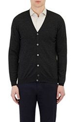Zanone Men's V Neck Cardigan Dark Grey