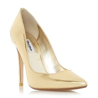 Dune Aiyana Pointed Toe High Heel Court Shoes Gold