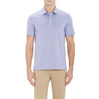 Brunello Cucinelli Heathered Polo Shirt Blue