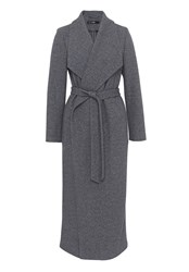 Hallhuber Maxi Coat With Spade Collar Grey