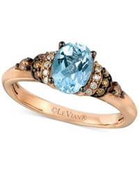 Le Vian Chocolatier Aquamarine 9 10 Ct. T.W. And Diamond 1 6 Ct. T.W. Ring In 14K Rose Gold Blue