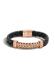 John Hardy Classic Chain Braided Leather Wide Station Bracelet Black Rose Gold