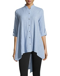 Xcvi Button Front Tab Sleeve Tunic Chambray