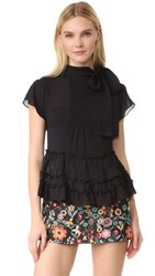 Red Valentino Tie Neck Blouse Black