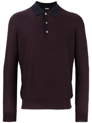 Malo Long Sleeve Knit Polo Shirt Pink Purple