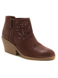 Qupid Zora Cut Out Ankle Boot Brown