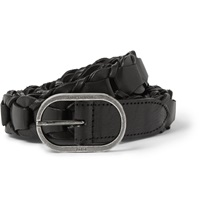 Saint Laurent 2.5Cm Black Braided Leather Belt
