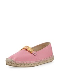 Moschino Lettering Canvas Espadrille Flat Pink Women's