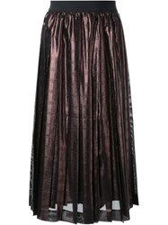 Muveil Metallic Pleated Skirt Brown