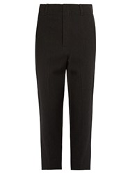 Vince Wool Blend Tapered Trousers Dark Grey