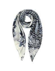 Armani Jeans Signature Twill Silk Square Scarf Blue