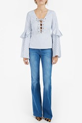 Caroline Constas Women S Lace Up Front Stripe Top Boutique1 Navy Mul